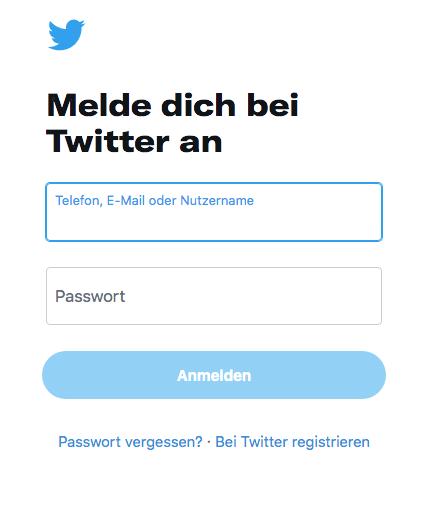 Der mobile Anmeldescreen von Twitter